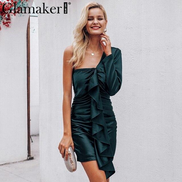 Glamaker Green elegant ruffle satin dresses for Women one shoulder bodycon beachwear dress Ladies summer bodycon sexy dress 2019