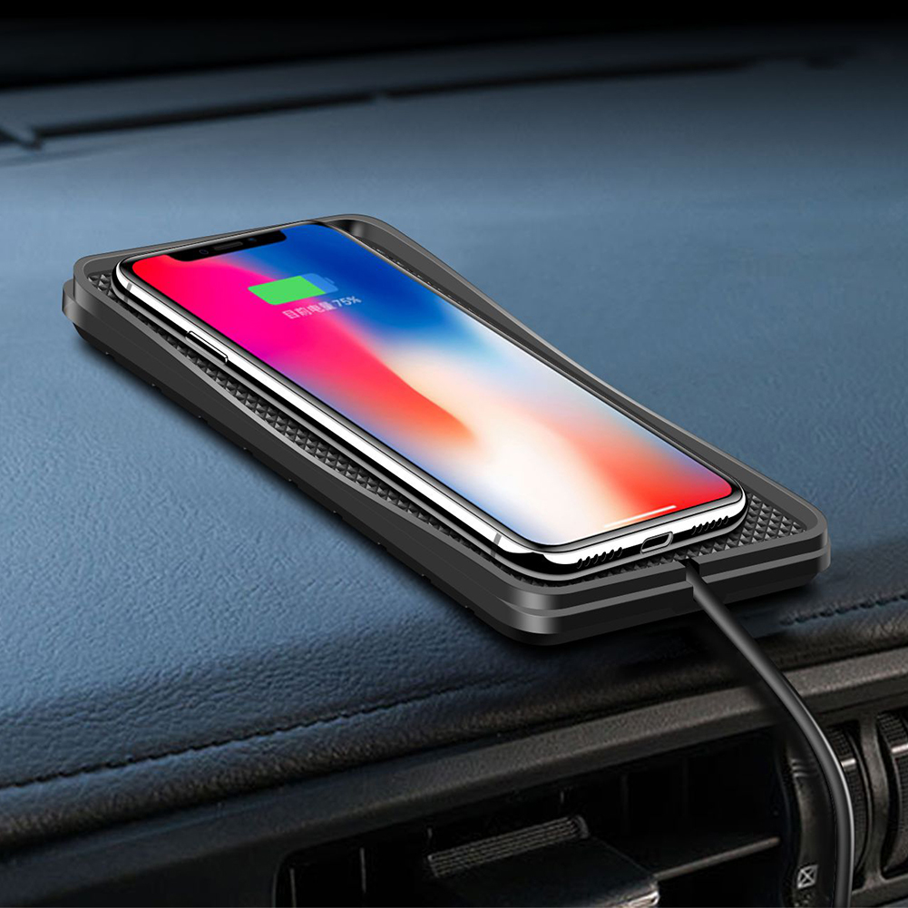 C3 QI 10W Wireless Car Charger Pad Quick Charging Non Slip Silicon Mat for iPhone Xs MAX XR Samsung Galaxy S9 S8 S8 S7 S6 in Mobile Phone Chargers from Cellphones Telecommunications