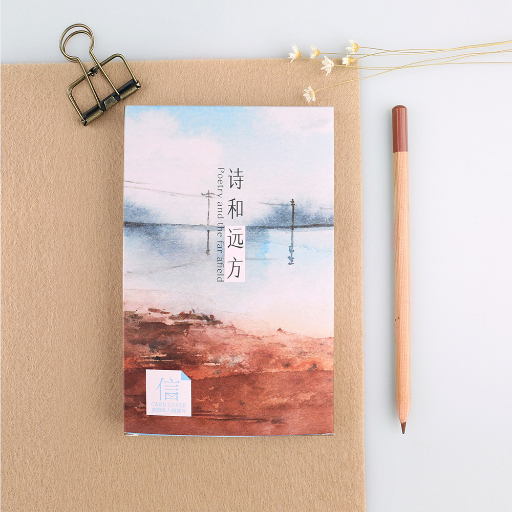 30 Pcs Lot Watercolor Poetic Landscape Hand Drawing Postcard Greeting Card Christmas Birthday Gift Cards Free Shipping