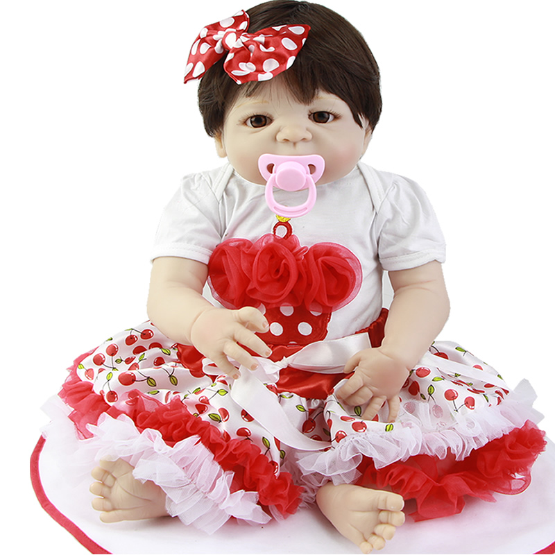 KEIUMI Hot Sale 23'' Realistic Reborn Baby Dolls Girl Toy Alive Full Silicone Vinyl 57 cm Doll Reborn Boneca For Kids Playmates-in Dolls from Toys & Hobbies    1