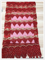 2017new design red african lace fabric Wholesale price cord lace high quality african tulle lace fabric with many stones