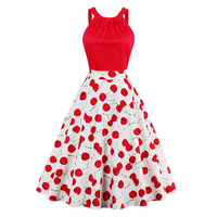 Sisjuly Vintage Dress 1950s Style Spring Summer Autumn Cherry Print Red Women Party Dress New Elegant