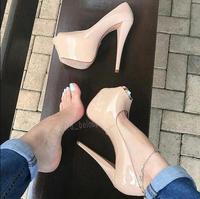 Nude Patent Leather Ultra High Heel Shoes 16cm Woman Wedding Shoes Platform Stiletto Heels Open Toe Pumps Women Shoes Plus Size