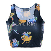 Drop Shipping 2014 Women Crop Top Digital Print Sexy Advanture Time Black Sexy Vest Tops For
