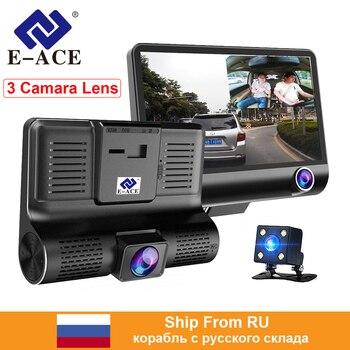 E-ACE Car Dvr Dash Cam 4.0 Inch Video Recorder Auto Camera 3 Camera Lens With Rear View Camera Registrator Dashcam DVRs
