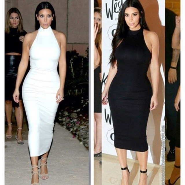 5dc70d15bfb6 2017 black white red beige Sexy high neck sleeveless off shoulder Kim  Kardashian dress women mid-calf spring sexy bodycon dress