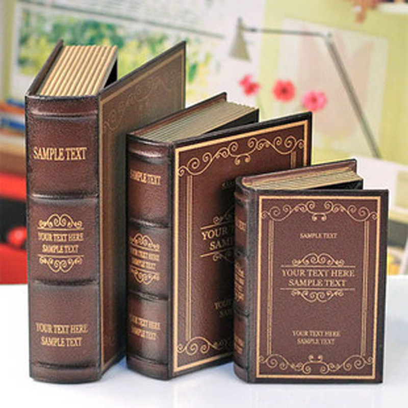 set of 3 vintage wooden decorative book storage boxeschina mainland - Decorative Box