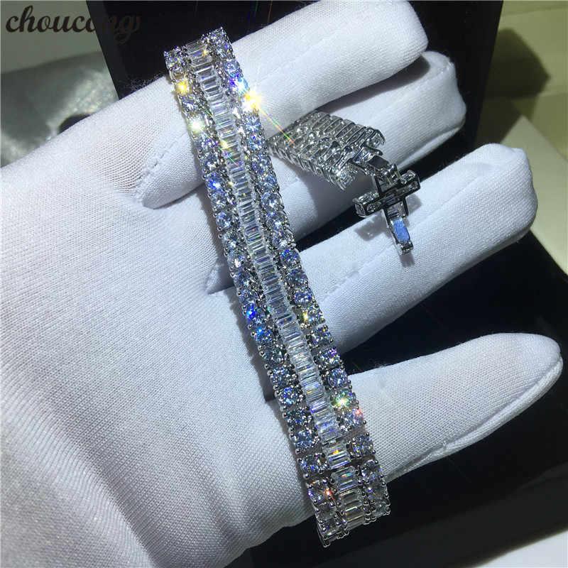 Choucong luksusowe kobiece białe złoto wypełnione bransoletki T kształt AAAAA cz srebrne kolory bransoletka ślubna dla kobiet moda biżuteria