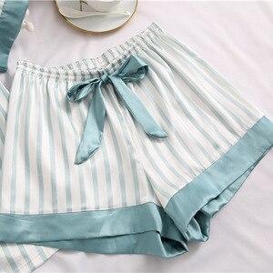 Image 4 - Fiklyc ensemble pyjama manches courtes pour femme, sous vêtement, pantalon court à rayures, sexy et mignon, pour filles, été, collection ensembles de vêtements de nuit