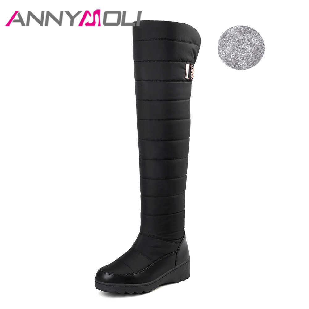 ANNYMOLI Winter Snow Boots รองเท้าผู้หญิง Plush เข่ารองเท้าบูทแพลตฟอร์ม Wedge ส้นรองเท้าบูทยาวหญิง 2018 ขนาดใหญ่ขนาด 5-11