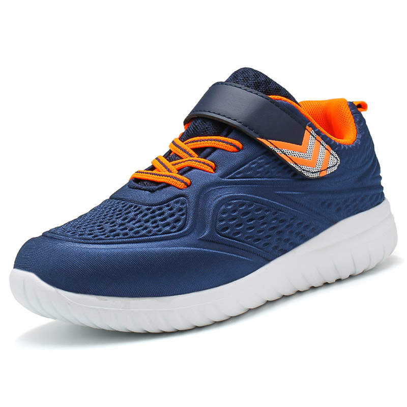 2018 Children Sneakers Breathable Outdoor Sports Shoes Non-slip Shoes Orange Black Blue Mesh For Children Free Shipping HFS12 uovo racing driver sport kids shoes boys leather children shoes non slip tenis sneakers breathable boys shoes trainers wearable