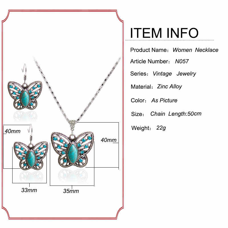 F&U Europe Popular Style Silver Plated Butterfly Shaped Dangle Earrings with Butterfly Pendant Necklace N057