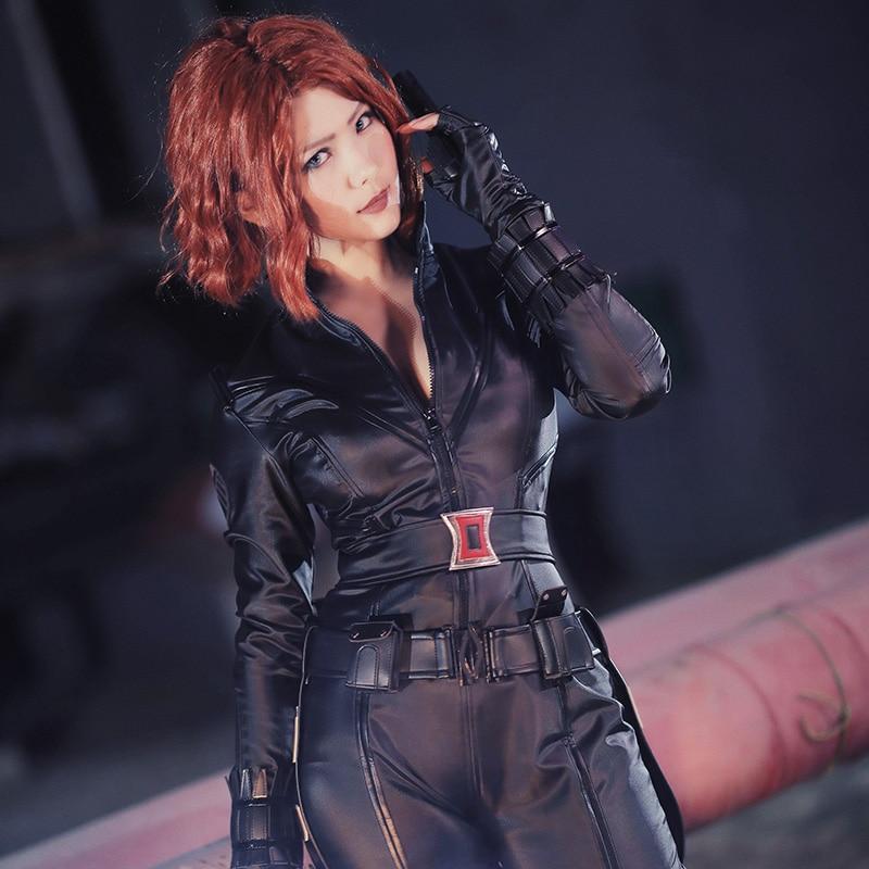 Marvel's The Avengers Temporada 1 Cosplay Black Widow Natasha Romanoff Disfraz Halloween Mujer Ropa Adultos Traje de cuero Traje