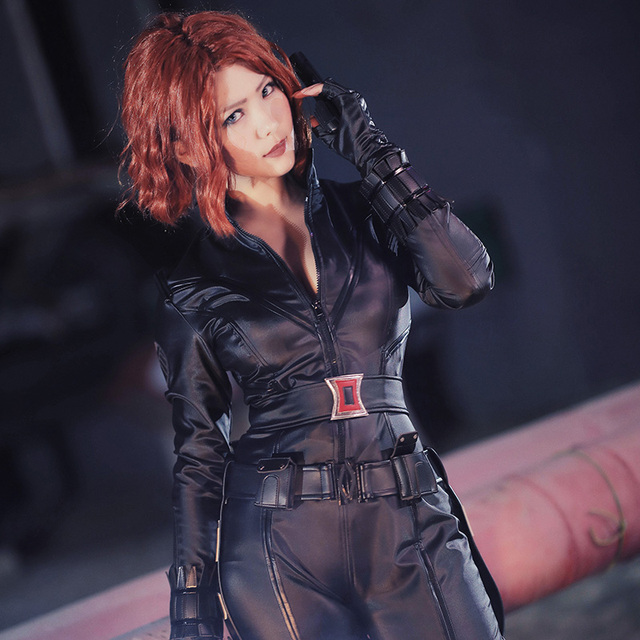 Marvel's The Avengers Season 1 Cosplay Black Widow Natasha Romanoff Costume Halloween Women Clothes Adults Leather Suit Outfit