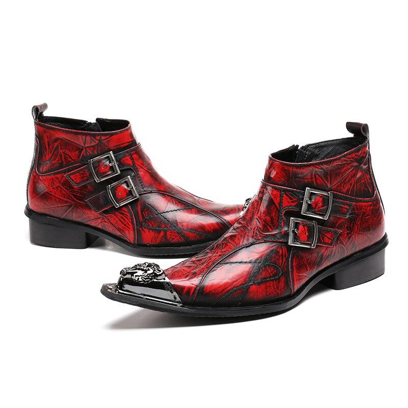 Puntiagudo Moda 2018 As Deslizador Show as Show Mabaiwan Hombres Hebilla Botines Zapatos Botas Auténtico Metal Militar Cuero Vaquero zqffcwd5