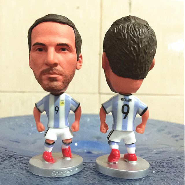 2016 Season 6.5 cm Height Resin Soccer Figure Argentina 9 Gonzalo Higuain Doll White Blue