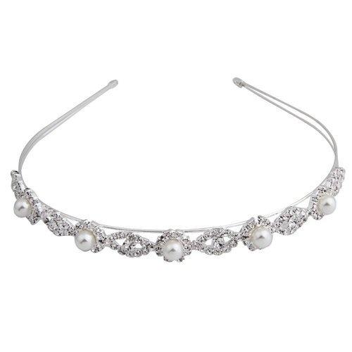 "Silver Plated Faux Pearl Rhinestone Wedding Headband Tiara Hair Band 0.55"""