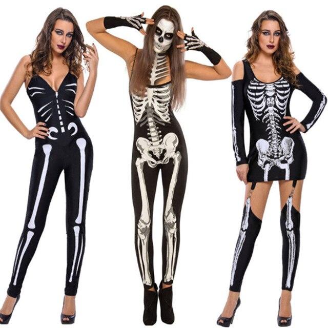 1785c65d3 2018new Adult Women Black Scary Day Dead Costume Bodysuit Skeleton Skull  Joker Zenta Halloween Ladies ghost Bridal Cosplay Dress