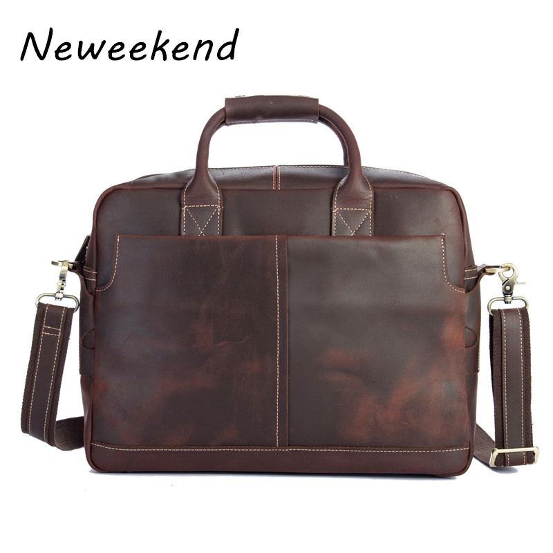 Vintage Genuine Leather Crazy Horse Thick Large Briefcase Portfolio 16 Inch Laptop IPad Crossbody Handbag For Man 1019 36% Off