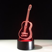 Guitar Shape Music Fans 3D Illusion LED Night Light 7 Color Creative Touch Switch USB Powered