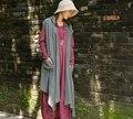 Новое прибытие осень женщины хлопок лен кардиган с капюшоном без рукавов длинный жилет Оригинальный дизайн открыть Кардиган для Femal 85318