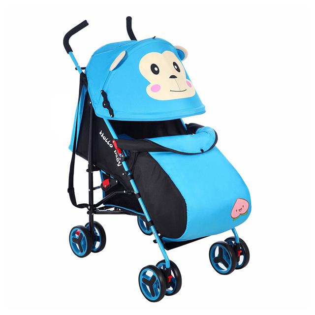 Moda Infantil Cochecito Cochecito de Dibujos Animados Mono Multi-Uso Cochecito de Bebé Cochecito Infantil Plegable Carro Carro