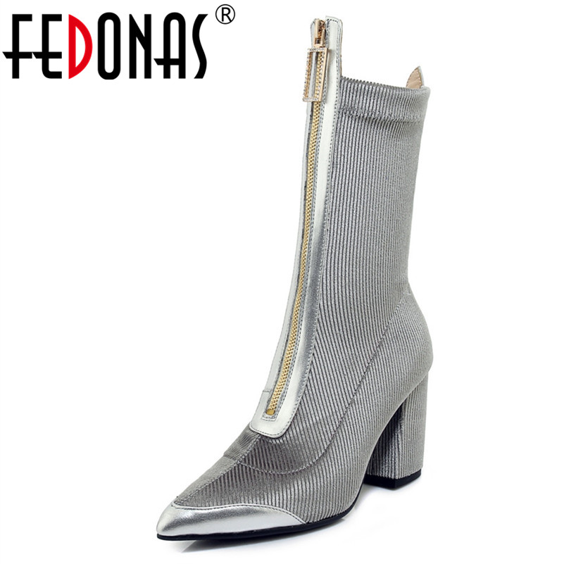 FEDONAS New Square Heel Women Mid-calf Boots Fashion Pointed Toe Shoes Woman Sexy Party Wedding Shoes Warm Autumn Winter BootsFEDONAS New Square Heel Women Mid-calf Boots Fashion Pointed Toe Shoes Woman Sexy Party Wedding Shoes Warm Autumn Winter Boots