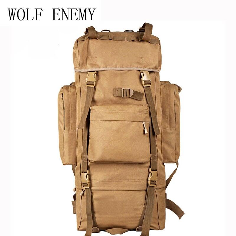 70L Metal Steel Frame Bag Men's New Military Backpack Waterproof Nylon Backpacks Hunting Bags