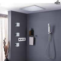 Rainfall Concealed Round Shower Set with Brass Two Functions Embedded Box Mixer Valve,Shower Head,Spout