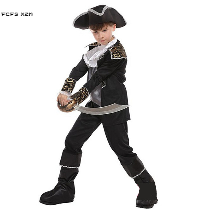 Boys Halloween Pirate Captain Costume Kid Children Warrior Jack Sparrow Cosplay Carnival Purim Stage play Masquerade party dress
