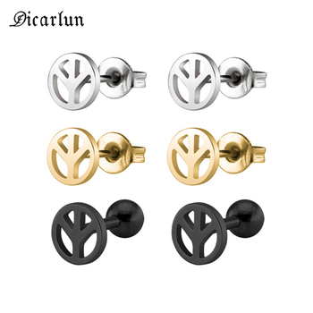 Женские и мужские сережки-гвоздики DICARLUN, золотые, серебристые, черные из нержавеющей стали