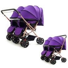 Двойная детская коляска для близнецов, может лежать, легкая двойная коляска, детская коляска 2 в 1 для близнецов, с откидной ручкой