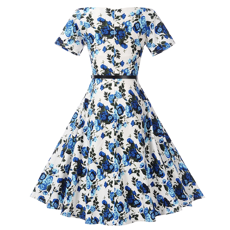 68bb385439 HimanJie Flower Print Women Summer Dress Hepburn 50s 60s 2017 ALine off  shoulder Vintage Party Dresses With Belt Sundress Female-in Dresses from  Women s ...
