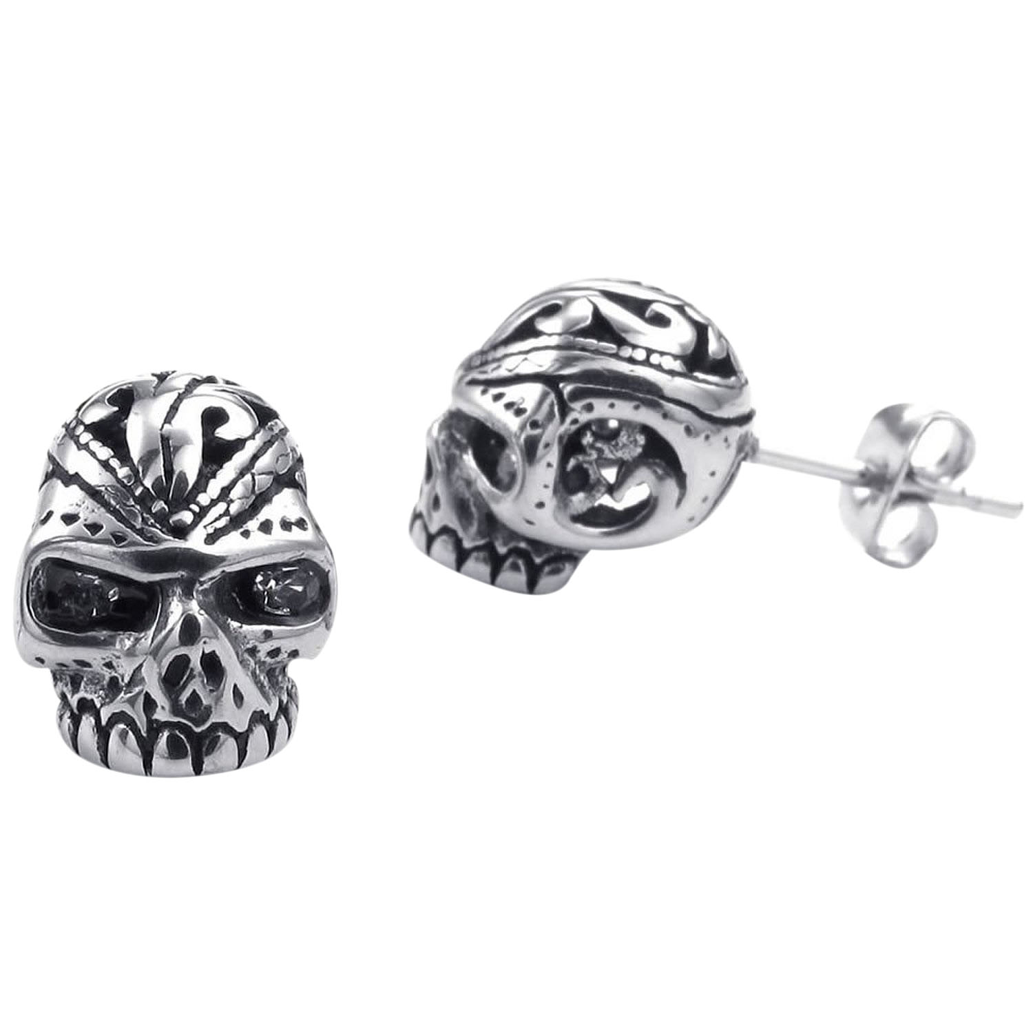 Velvet Bag Jewelry Mens Earrings, Gothic Skull Skull Stud, Zirconia Stainless Steel, black Silver