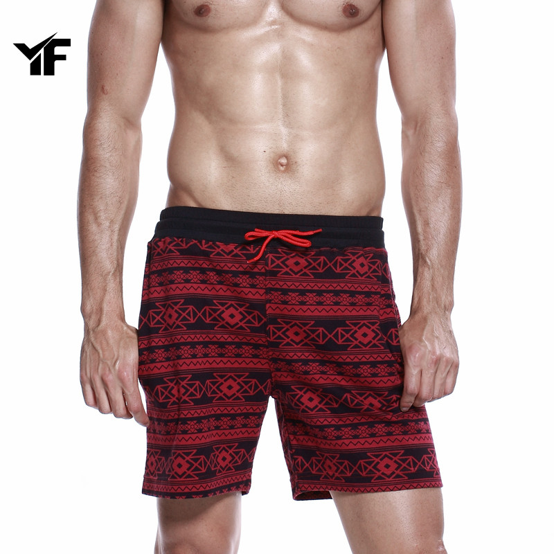 YF  2018 New Summer Hot Men Beach Shorts Quick Fry Printed Elastic Waist Casual Shorts