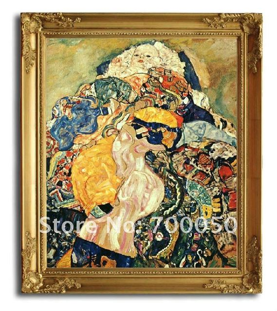 free shipping wooden oil painting frames baby cradle klimt art 20x24 - Wholesale Art And Frames