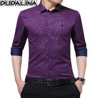 DUDALINA 2017 New Men Clothes Slim Fit Men Long Sleeve Shirt Printe Casual Men Social Shirt