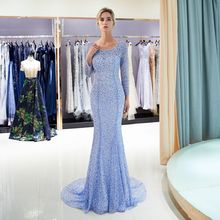 High quality beaded evening Dresses long 2018 mermaid open back party dresses hijab Prom gown tulle formal Gown Vestido