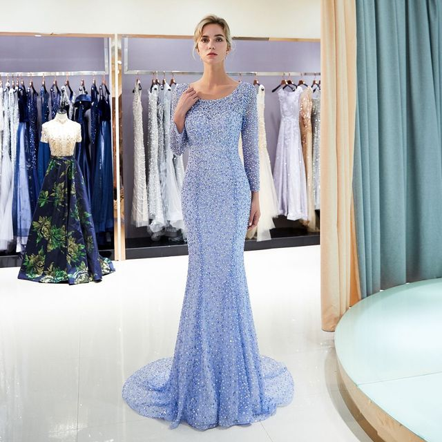 High quality beaded evening Dresses long 2018 mermaid open back evening  party dresses hijab Prom gown tulle formal Gown Vestido