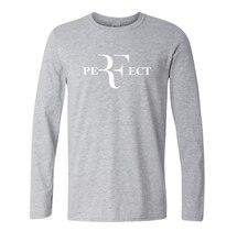 Мужская Мода роджер федерер футболки мма Идеально Буквы Дизайн футболки Футболки мужчин с длинным рукавом хлопок топы забавный топы S-XXL