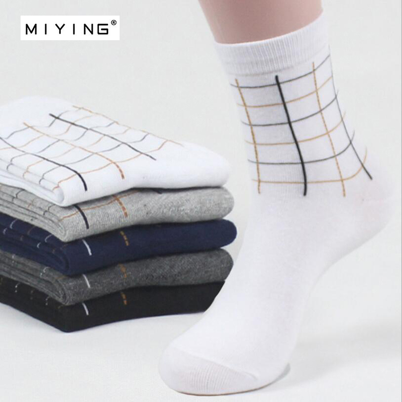 MIYING 5 pairs Mens Combed Cotton Socks Pattern Grid Pattern Business Casual Sock Dress Socks for Wedding Adults Man Youth New