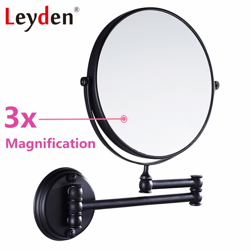 Leyden 8-inch Two-sided Swivel Wall Mount Makeup Mirror with 3x Magnification Oil Rubbed Bronze Solid Brass Bathroom Accessories