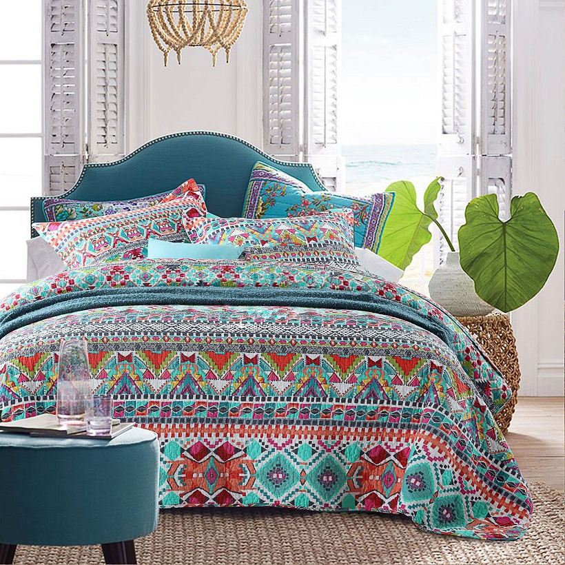 Chausub Bohemia Bedspread Quilt Set 3pcs Printed Cotton Quilts Bed