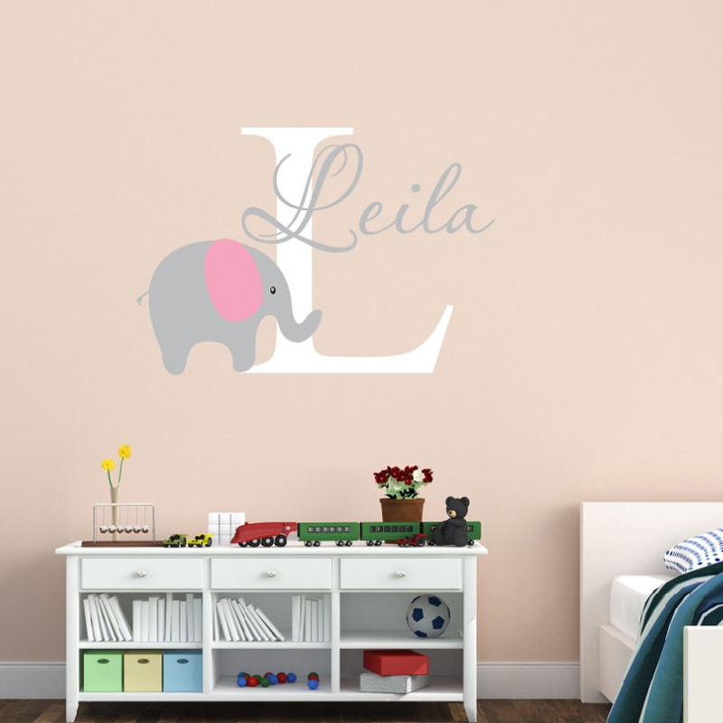 Elephant with Bubbles and Custom Name Baby Wall Decal Viny Nursery Room Decor