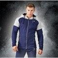 Men Patchwork Hoodies Cotton Sweatshirt Male Tracksuit Hooded Jacket Male Hoody Jackets Zipper Hoodies Muscle Wears