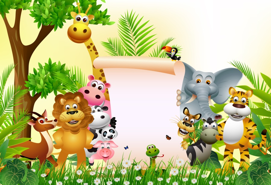 Laeacco Jungle Party Cartoon Animals Lion Deer Baby