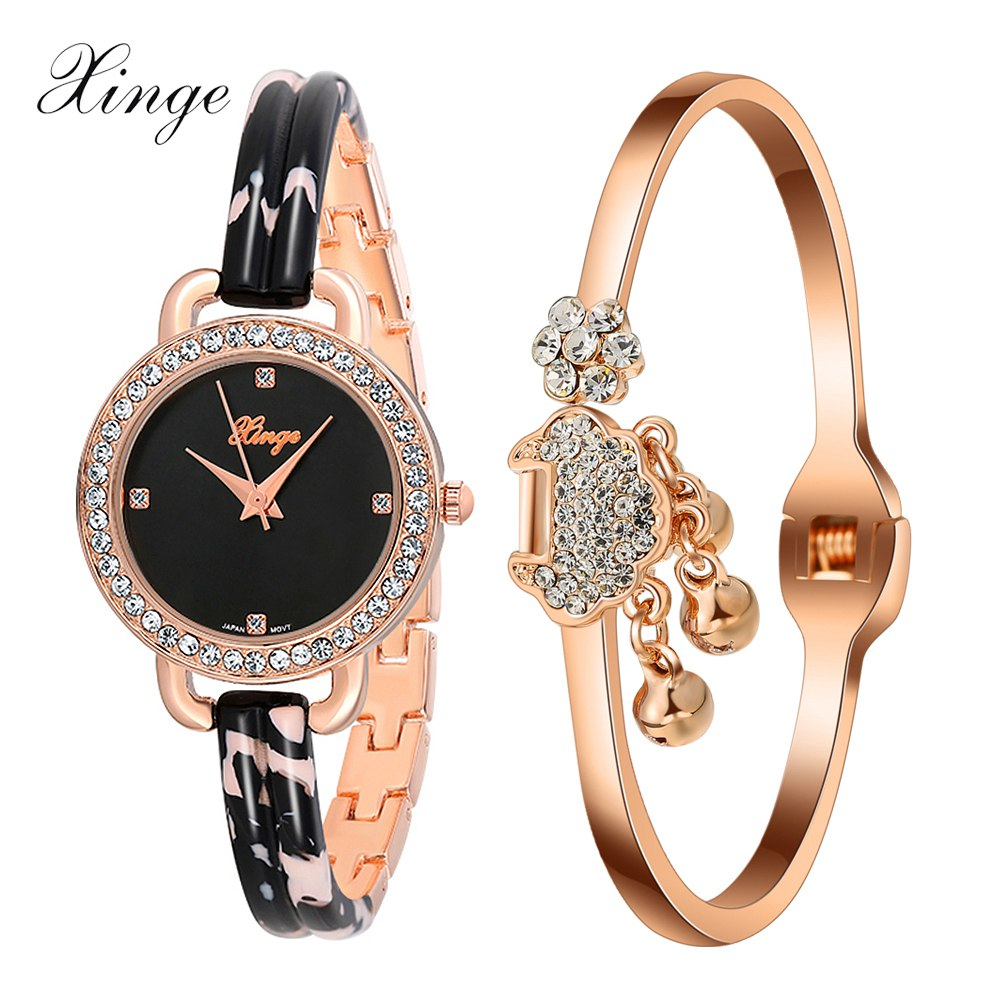 Xinge Top Brand Quartz Watch Women Crystal Rose Gold Alloy Bracelet Wristwatch Set Luxury Women Watch Girls Dress Clock Watches xinge brand luxury crystal quartz watch women bracelet rhinestone jewelry watch set wristwatch waterproof women dress watches