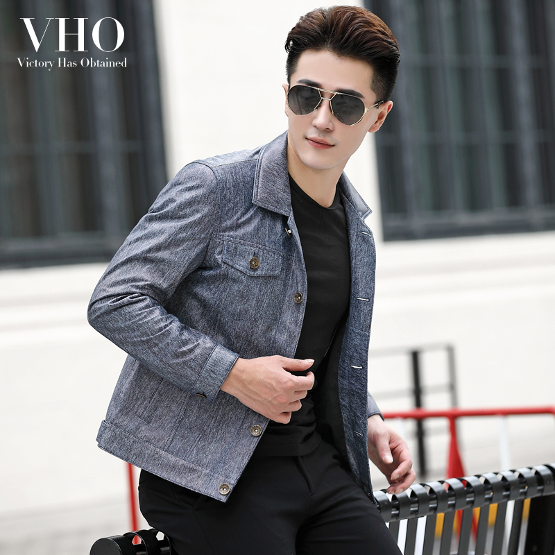 VHO Sheepskin-Coats Jacket Genuine-Leather Biker Motorcycle for Men Fashion Trend Natural