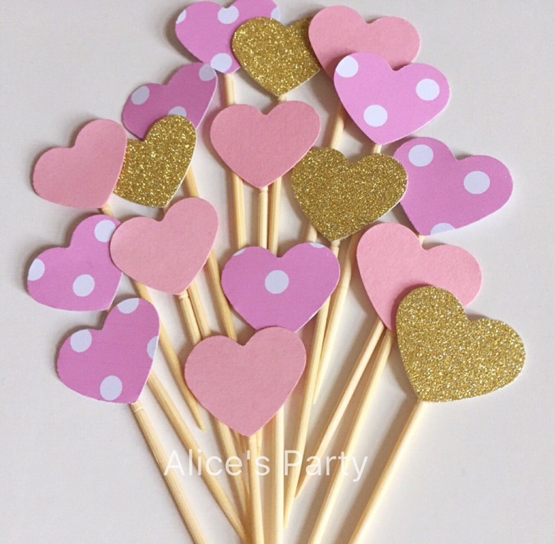 50pcs Gold Pink Dots Stripes Hearts Cake Toppers Wedding