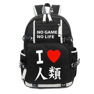 Image 2 - No Game No life I Love Human Cosplay Backpack Cartoon Luminous Student School Shoulder Bag Teenage Laptop Travel Bags